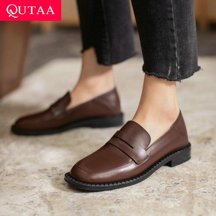 QUTAA 2021 Genuine Leather Square Heel Slip On Ladies Shoes Spring Autumn Casual Round Toe Basic Women Pumps Big Size 34 43
