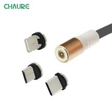 CHAURE Cable magnético de carga tipo C, Cable de datos luminoso, Micro USB para iphoneX, control por voz, LED