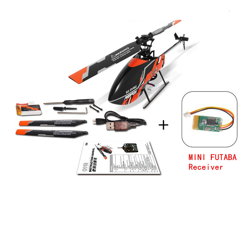 C119 + MINI Futaba Receiver Board 4CH 6 Axis Gyro Flybarless RC Helicopter BNF Without Remote Controller