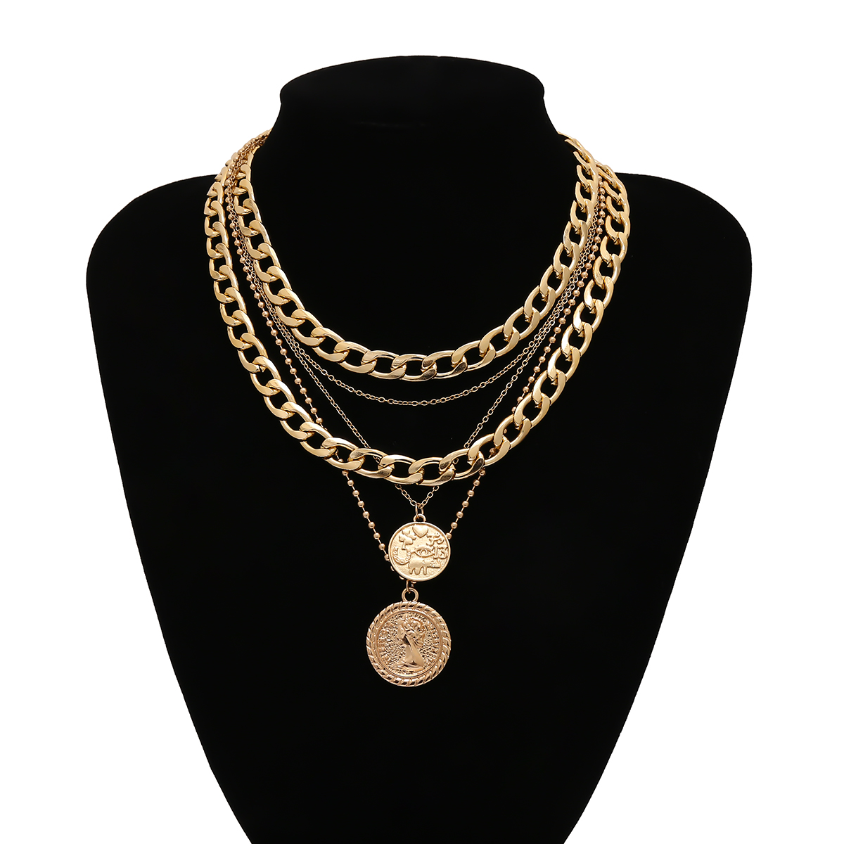 IngeSight.Z Punk Multi Layer Curb Cuban Chunky Thick Portrait Choker Necklace Women Vintage Carved Coin Pendant Necklace Jewelry 5