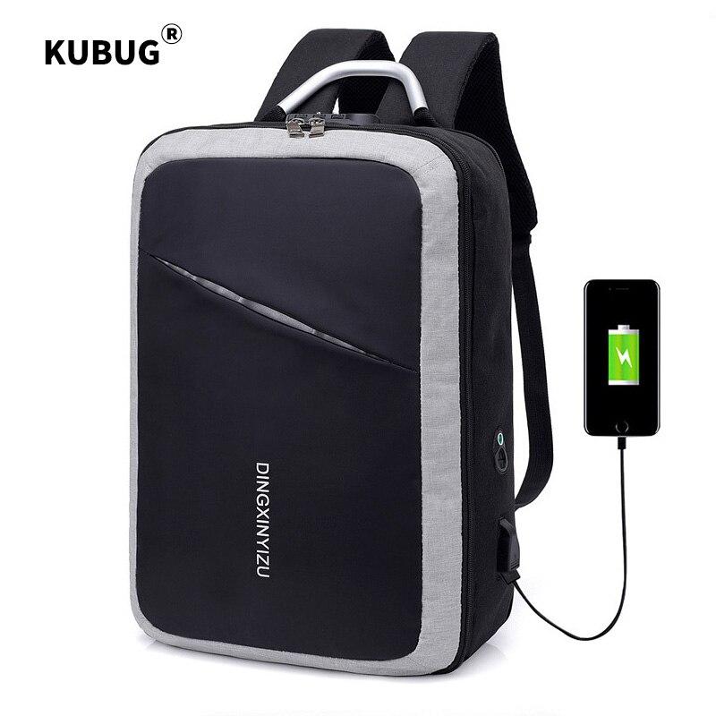 KUBUG Men Business Backpacks With Customs Lock Anti-theft Code Lock Backpack USB Charging Computer Bag College School Bag