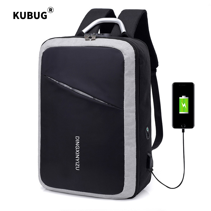 KUBUG Men Business Backpacks with Customs Lock Anti-theft Code Lock Backpack USB Charging Computer Bag College School Bag image