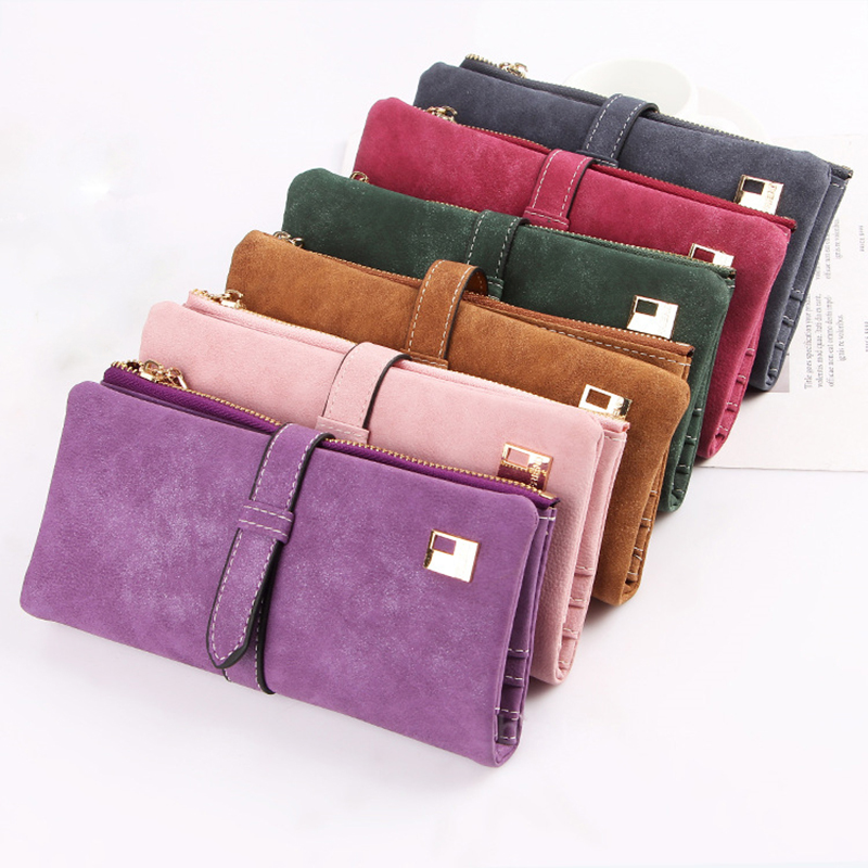 Suede Wallet Clutch-Bag Long Purse Drawstring Ladies Famous-Brand Nubuck Zipper Two-Fold