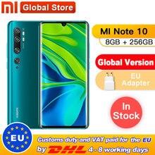 Globale Version Xiao mi mi Hinweis 10 Pro 8GB 256GB 108MP Penta Kamera Smarphone 5260mAh Batterie 10x optische Doppel Gebogene Bildschirm