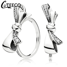 CUTEECO 2019 New Design Silver Color Bow Knot Wedding Ring for Women Engagement Crystal Rings Party Jewelry Valentines Day Gift