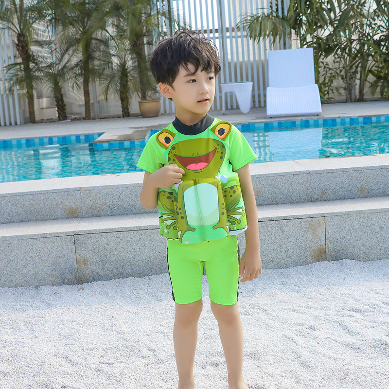 2019 New Style South Korea Buoyancy Cute Cartoon Frog Short Sleeve Hot Springs Boy Children Baby Bathing Suit Men's Floating