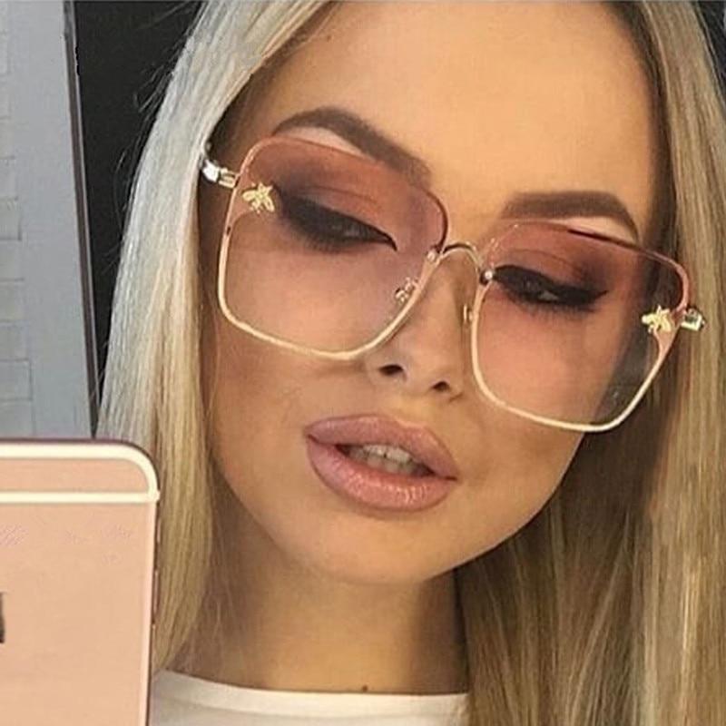 2020 New Lady Oversize Rimless Square Bee Sunglasses Women Brand Fashion Small Bee Gradient Sun Glasses Female UV400