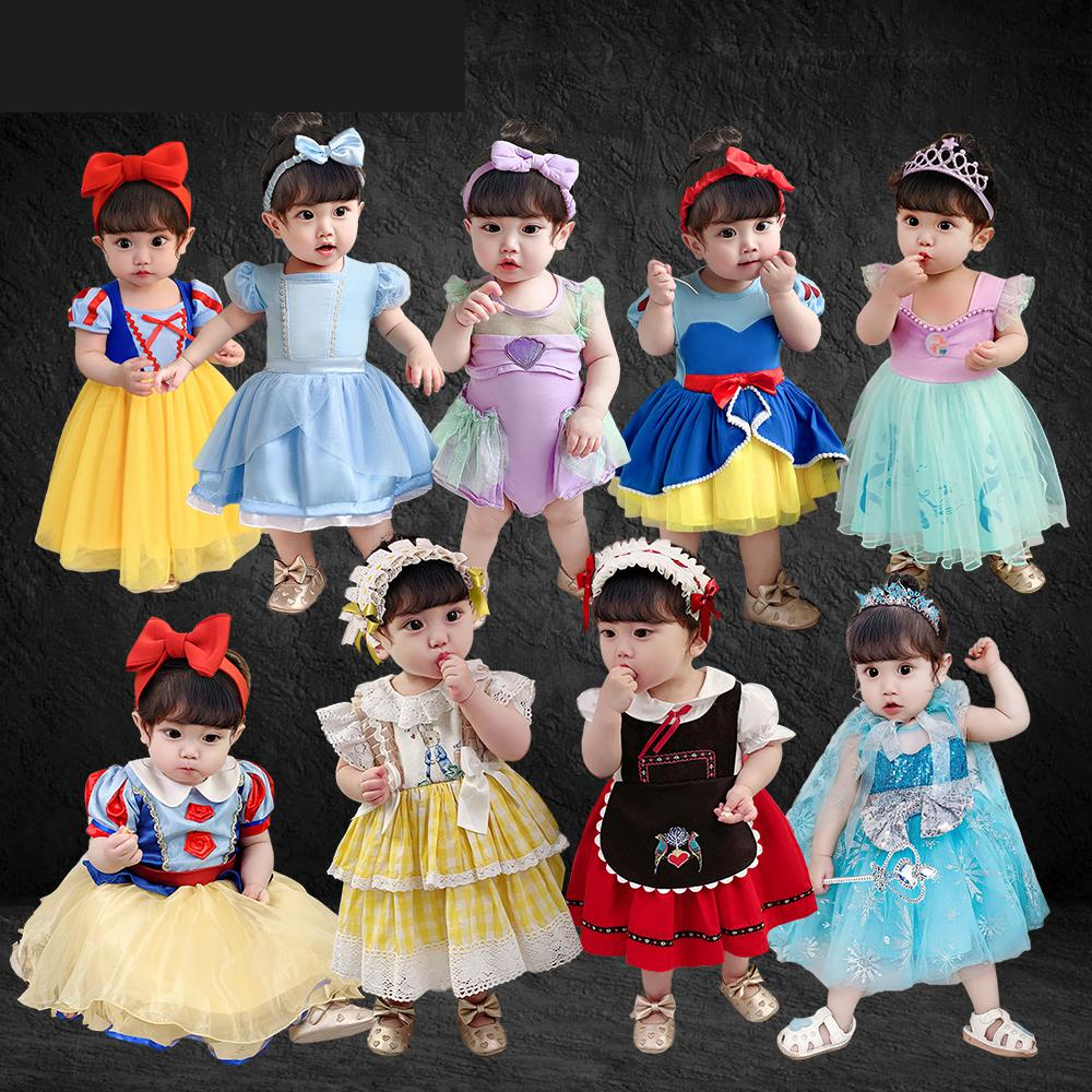 Infant Party Princess Dress Girl Baby Clothing Snow White Cinderella Little Mermad Newborn Jumpsuit Dress Spain Kids Clothes