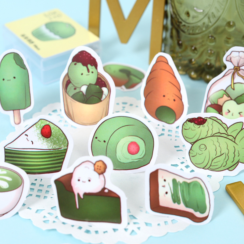 Japanese Matcha Food Stickers Scrapbooking Kawaii DIY Diary Journal Decorative Adhesive Paper Seal Label Stationery Supplies