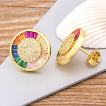 Top Quality Delicate Copper Zircon Crystal Round Stud Earrings Rainbow Color Romantic Love Earrings For Women Girls Gift new fashion delicate cute gold cz zircon crystal round stud earrings rainbow color romantic love earrings for women girls gift