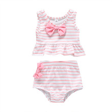 Toddler Kids Baby Girl Bow Swimsuit Striped Bathing Suit Bik