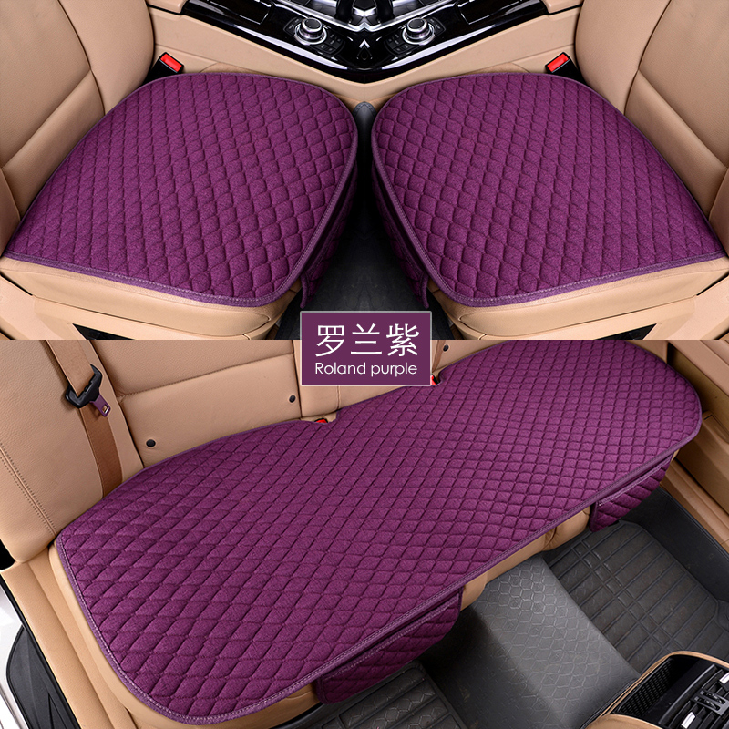 Flax Car Seat Covers Front Rear/ Full Set Linen Fabric Seat Pad Cover 9
