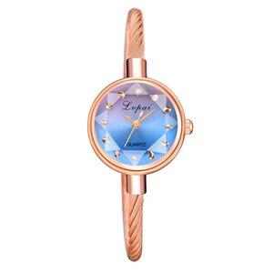 Image 5 - Marka Lvpai kobiety bransoletka do zegarka złoty Casual mały zegarek złoty geometryczny szklana powierzchnia kolorowe zegarek zegarek kwarcowy dla pań