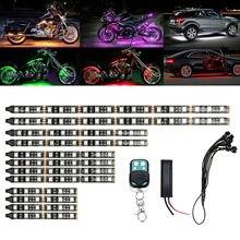 12 Stuks Motorcycle Led Neon Strip Rgb Lamp 15 Kleuren Afstandsbediening Onder Glow Lights 5050SMD Led Auto Decoratieve licht Strip