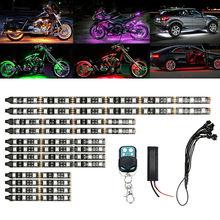 12pçs led neon tira de motocicleta, rgb, 15 cores, controle remoto sob luzes brilhantes, 5050smd, led, decorativo para carros tira de luz luz