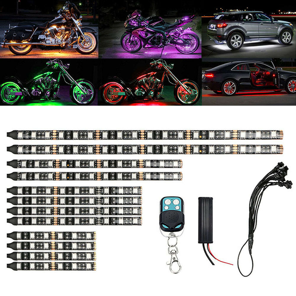 12pc Motorcycle RGB LED Neon Under Glow Lights Strip LED Car Decorative Light For Universal 12V 120 LEDs Remote Control image