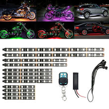 12pcs Motorcycle LED Neon Strip Lamp RGB 15 colors Remote Control Under Glow Lights 5050SMD LED Car Decorative Light Strip