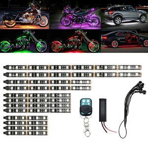 Image 1 - 12pcs Motorcycle LED Neon Strip Lamp RGB 15 colors Remote Control Under Glow Lights 5050SMD LED Car Decorative Light Strip