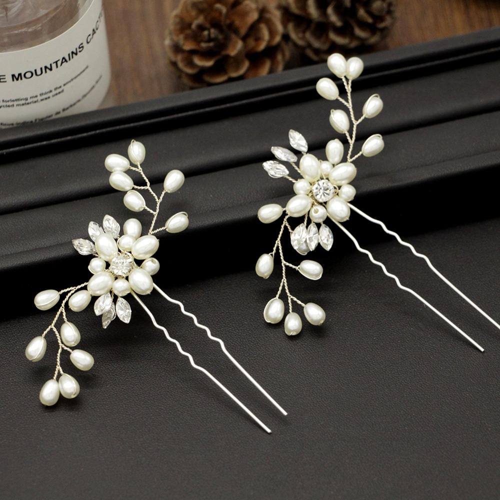 3 Pcs/set Wedding Flowers Pin Accessories Stunning Crystal Pearls Hand Made Comb Jewelry Party Hair Accessories