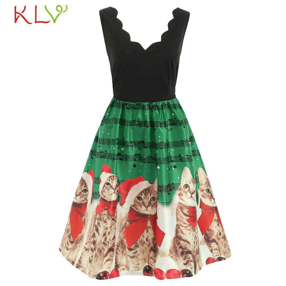 Christmas Dress New Year 2020 Costume Vintage Red Plaid Cat Print Evening Party Dress Elegant Women Winter Dress Plus Size 19Sep