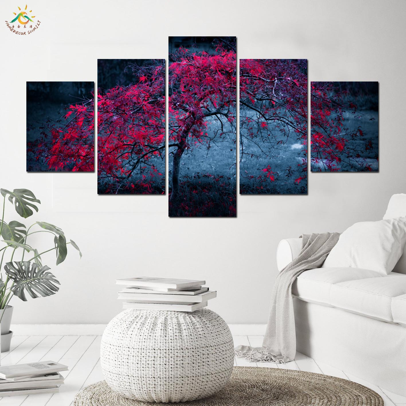 Autumn Red Tree Modern Wall Art Frames Pictures Canvas Painting Pop Art Modular Pictures Posters And Prints Living Room Art Pictures Canvas Paintingmodular Pictures Aliexpress