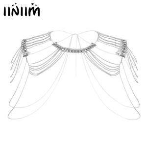 Iiniim Chain Body-Shoulder Necklace Tassels-Link Multilayered Womens Fashion Jewelry