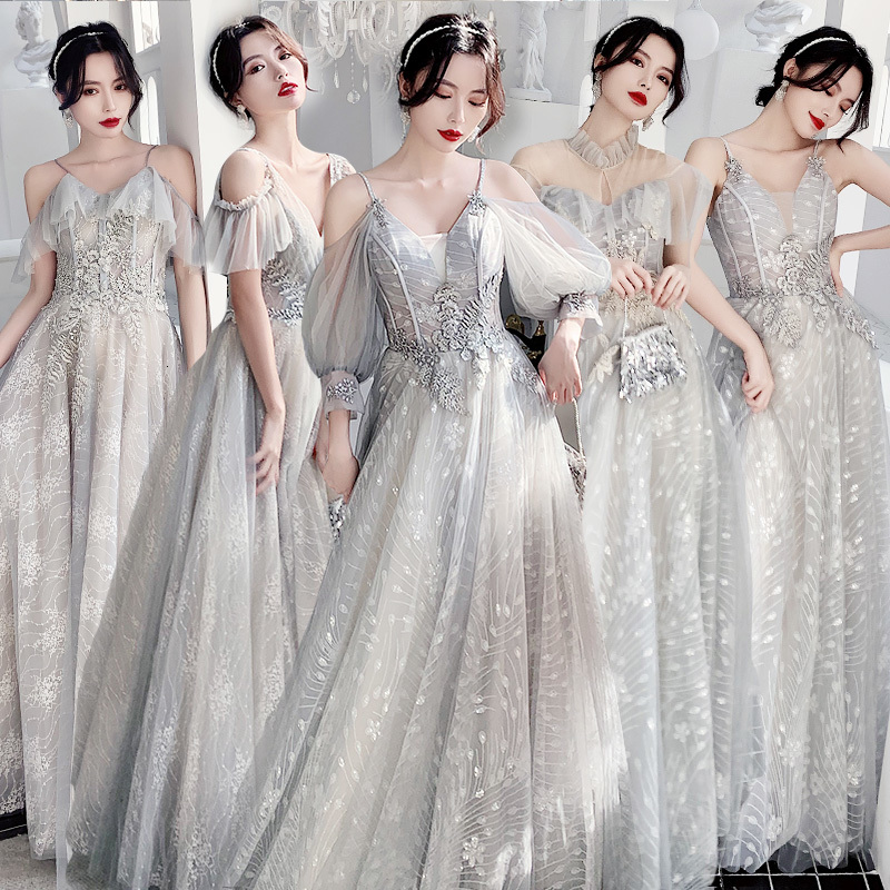 2019 Bridesmaid Serve Winter Immortal Temperament Long Fund Sisters Skirt Bridesmaid Group Gray Bridemaid Dress