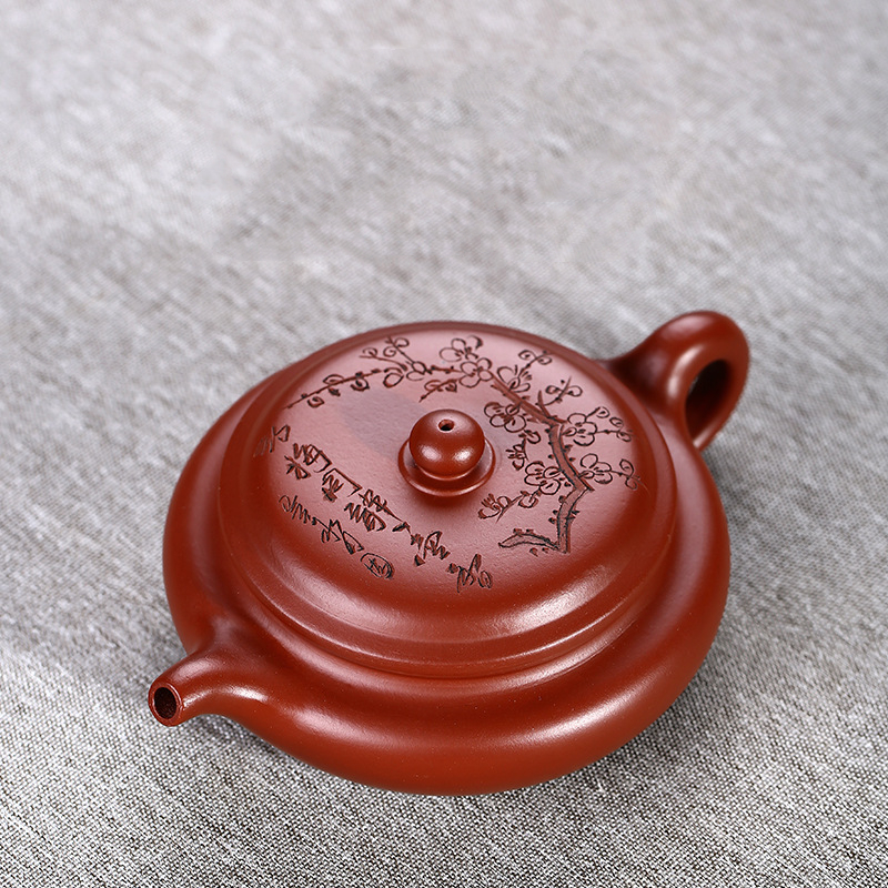 Mud Dahongpao Flat Drum Yixing Teapot  Handmade Authentic Purple Clay Pot Engraved With Plum Blossom