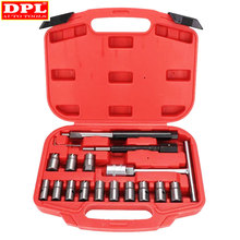 Injector Remover 17Pcs Diesel Injector Seat & Cleaner Carbon Remover Seat Tools Cutter Milling Cutter Set Universal Car Tool Kit