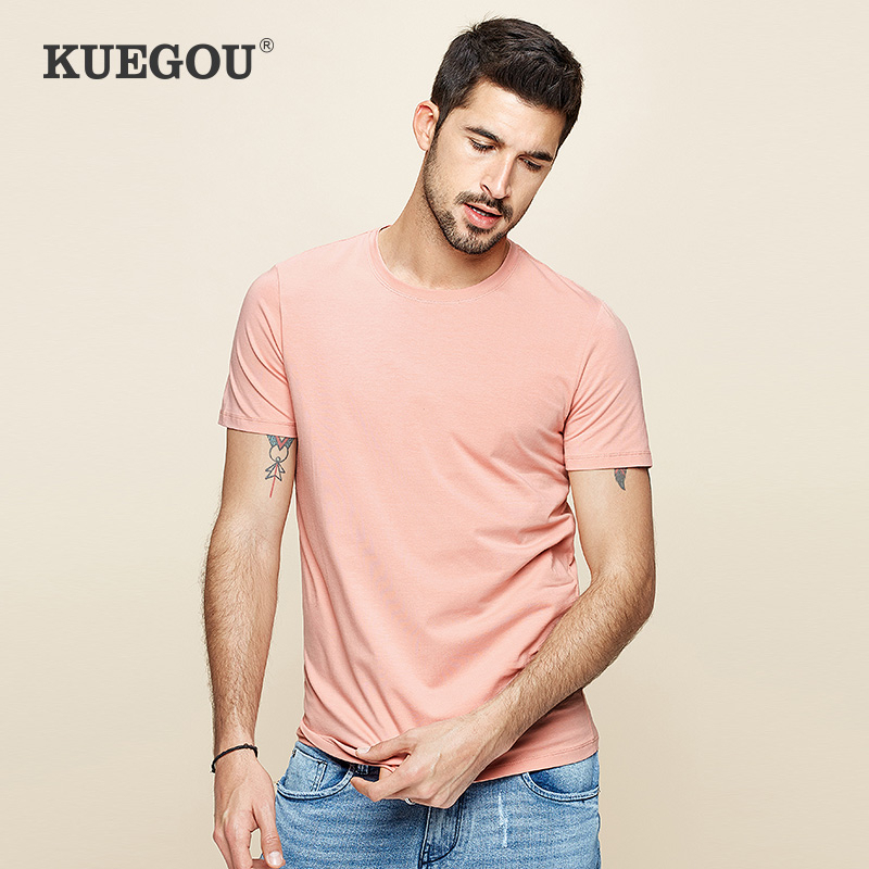 KUEGOU 2020 Summer Cotton Plain Gray T Shirt Men Tshirt Brand T-shirt Short Sleeve Tee Shirt For Male Fashion Clothes Top 1203