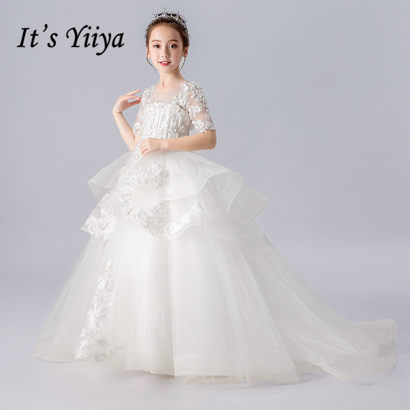 Flower Girl Dresses White It's Yiiya B011 Girls Communion Dresses For Weddings Tiered Half Sleeve Appliques Flowers Ball Gown