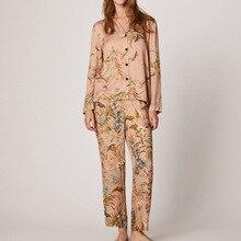 Cárdigan de primavera y otoño, pijamas novedosos, pantalones de manga larga para mujer, estampado de flores de algodón, cómodo traje para casa de mujer