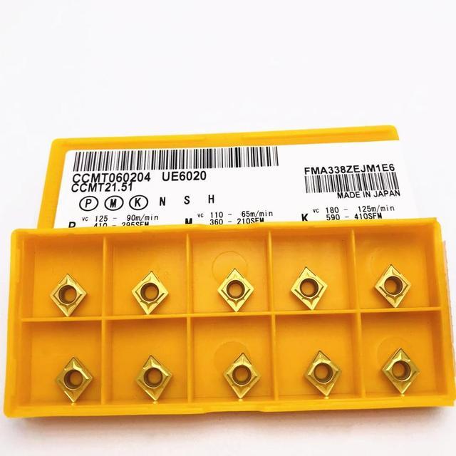 10PCS CCMT060204 UE6020 high quality universal hard alloy CCMT060204 UE6020 CNC lathe machine tool accessories turning tool