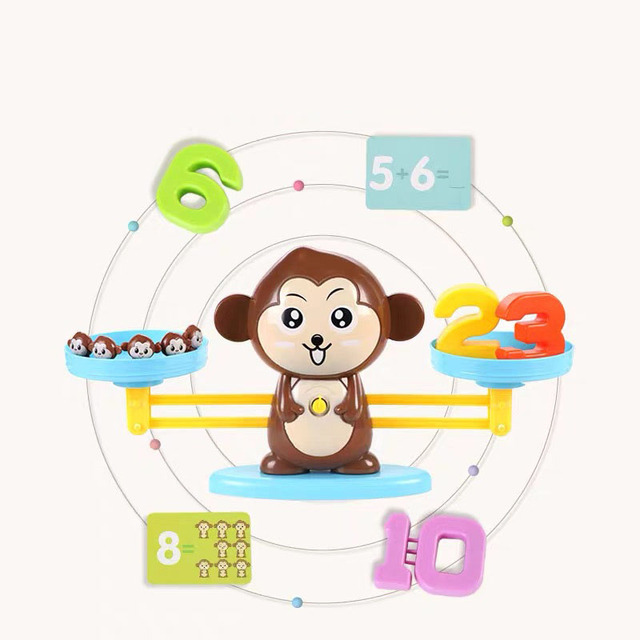 Kids Montessori Math Toy Kindergarten Educational Toys Monkey Puppy Number Balance Game Baby Learning Toys 4
