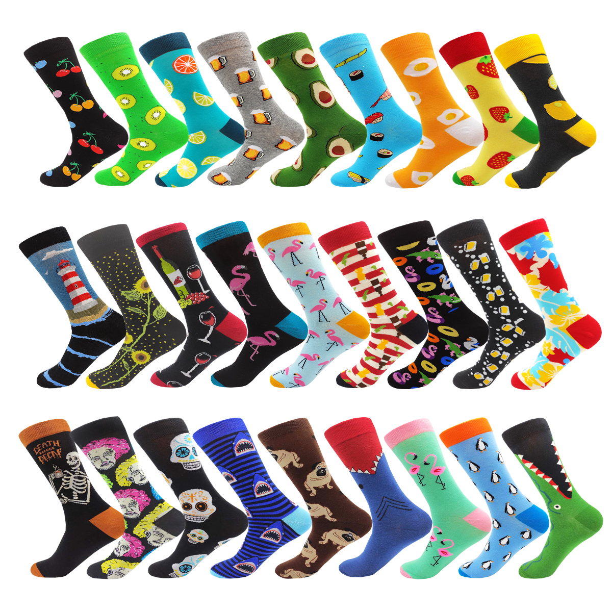 Novelty Fashion Harajuku Kawaii Cotton Women&mens Socks Cute Flamingo Banana Egg Beer Animal Printed Happy Funny Socks Size38-46