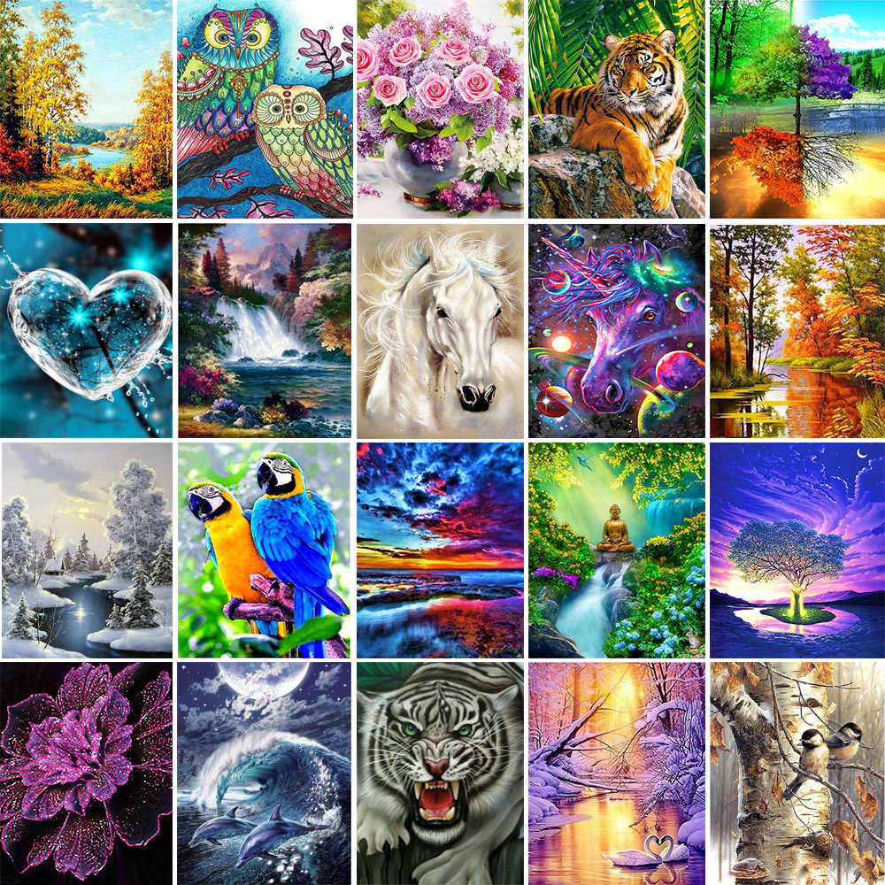 5D Diy diamante pintura Cruz Ctitch kits mosaico de diamantes bordado paisaje animales 3d pintura taladro regalo