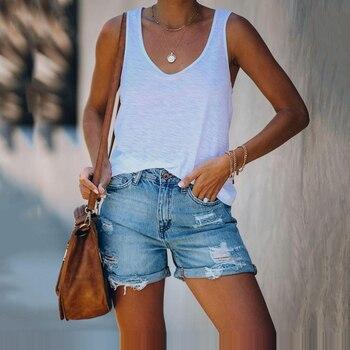 2020 Denim Shorts Hole Women Blue Short Jeans Wide Leg Elastic Waist Vintage High Summer Skinny