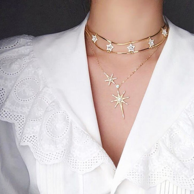 Lalynnly Chic Rhinestone Star Layered Choker Necklace Female Metal Design Short Chain Necklace Party Wedding Jewelry Gift N70021