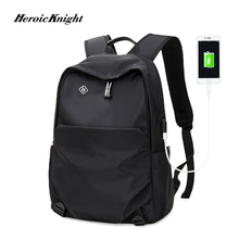 Heroic Knight New School Fashion Men Backpack Bag Water Proof Backpack men External USB Charge Laptop Backpack Travel Bags