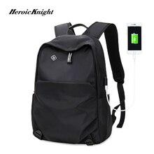 Mochila Heroic Knight, nueva moda escolar para hombre, mochila impermeable, mochila externa para hombre con carga USB, mochila para ordenador portátil, bolsas de viaje