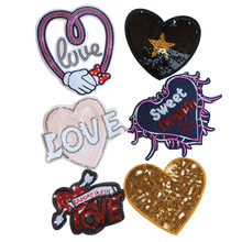 1 Pcs Various love heart shaped cartoon Sequin icon Iron on Patches for Clothing Clothing