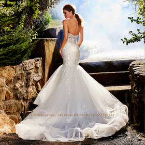 Image 2 - New Arrivals Beading Crystal Lace Appliques Mermaid Wedding Gowns Vestido Novia Sirena Sweetheart Neck Backless Elegant Dresses