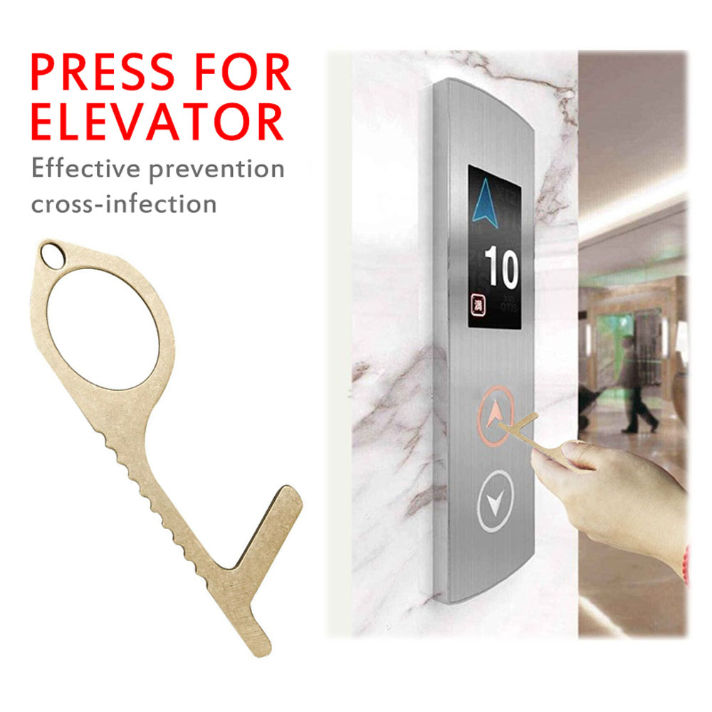 Contactless Safety Door Opener Safety Care Protection NO Touch Brass Key Opener Kits Handle Assistant Portable Durable