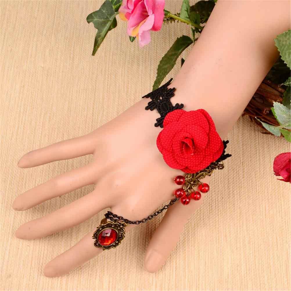Retro Gothic Wrist Strap Bracelet Classic Lace Black Rose Ring Vampire Hot