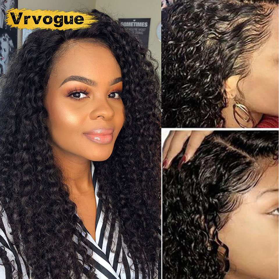 Vrvogue Malaysian Kinky Curly Wigs Natural Color 13x4 Lace Frontal Human Hair Wigs For Women Pre Plucked 150 Density Remy Wigs