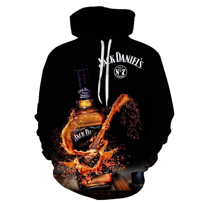 Jack Daniel's Black Hoodie For Men 3d Print Men's Hooded Sweatshirts 3d Pullover Hip Hop Rock Men Hoodies Streetwear Plus Size