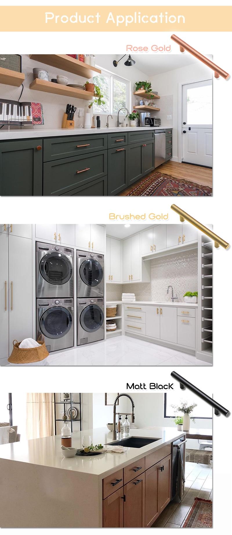 Uke Modern Furniture Handles Cabinet Drawer Wardrobe Handles Kitchen Cupboard Door Handles Rose Gold Brushed Brass Black Solid Aliexpress