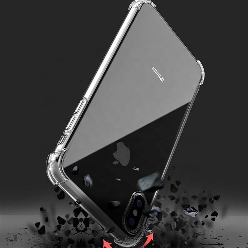 Suitable For iPhone 6 7 8 Plus X XS Max Cover Transparent Ultra Thin Four Corner Raised Phone Case For Xr 5 SE Shockproof Case