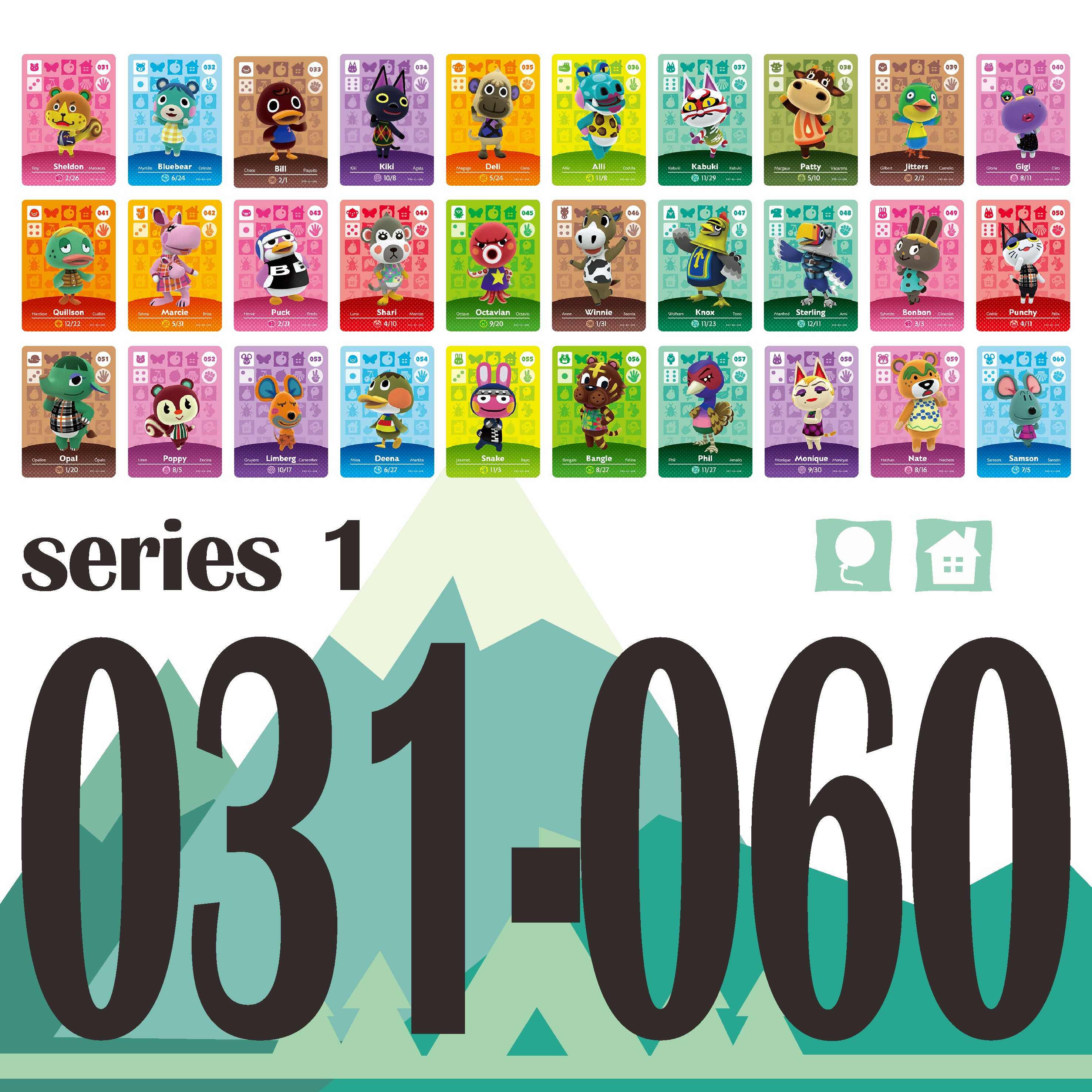 Animal Crossing Card Amiibo Card Work For NS Games Amibo Switch Rosie Welcome Stickers New Horizons NFC Series 1 (031 To 060)
