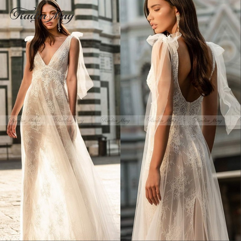 Sexy Illusion Backless A Line Wedding Dress Lace Beach Boho Wedding Dresses 2020 V Neck Pearls Bridal Gowns Robe De Mariee